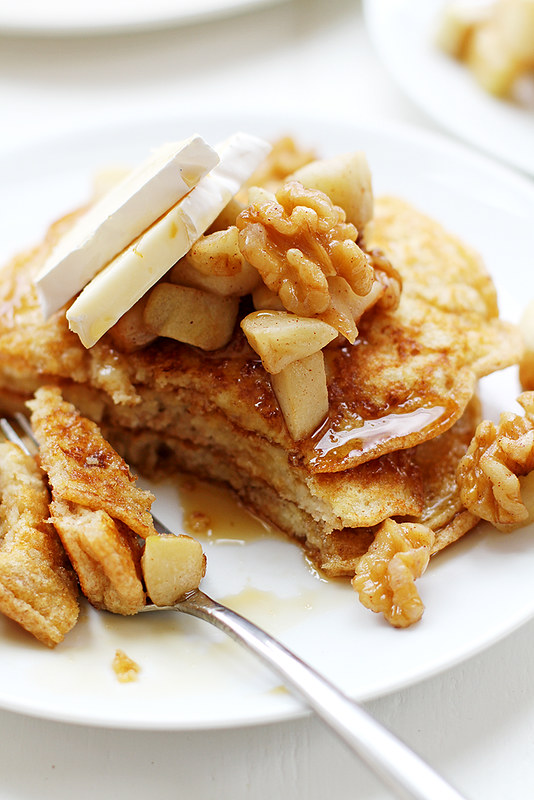 Apple, Walnut and Brie Bread Pudding Pancakes | girlversusdough.com @ ...