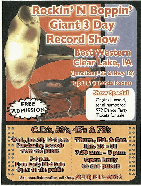 01/29 - 31/15 Rockin' N Boppin' Record Show @ Clear Lake Best Westyern, Clear Lake, IA