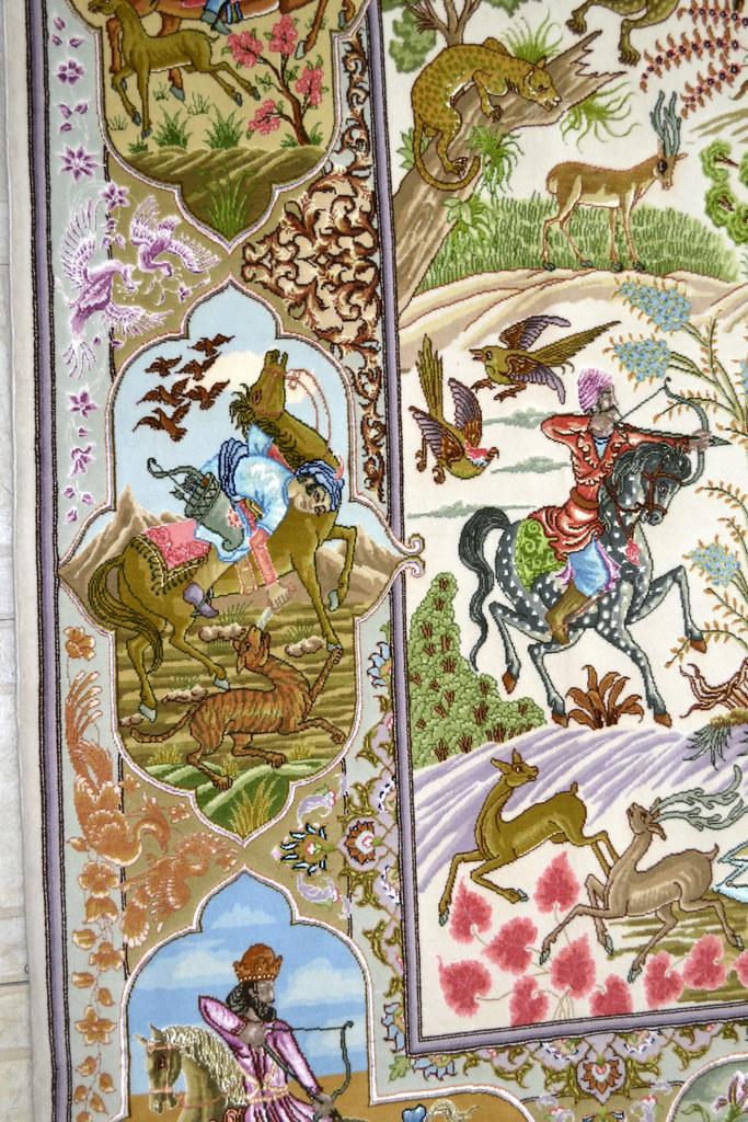 Tabriz 70 Raj - hunting scene Fine 7x10 (18)