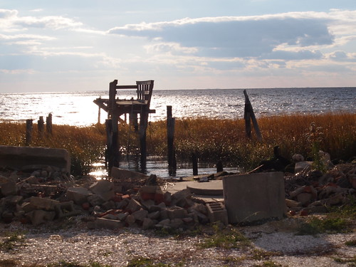 Only the dock remains from a Bay Point, New Jersey residence after Hurricane Sandy hit.
