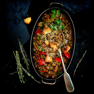 stewed lentil with vegetables and croutons.8