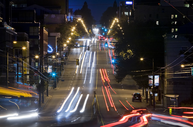 South Granville neighbourhood at night. Clayton Perry Photography