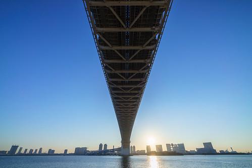 bridge japan sunrise tokyo sony 日本 東京 odaiba daiba tokyobay rainbowbridge お台場 橋 台場 レインボーブリッジ nex α 日の出 港区 東京湾 minatoward ソニー a7r sel1018 e1018mmf4oss α7r ilce7r