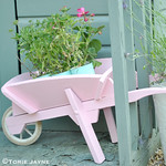 Candy pink wheelbarrow planter tutorial