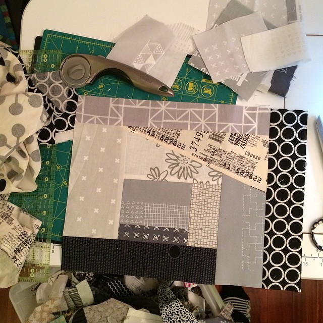 Scrappy improv piecing from my neutral scrap bin