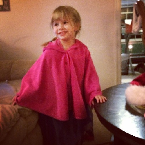 My mom made Lucy a cape to go with her Princess Anna costume. She's a big fan.