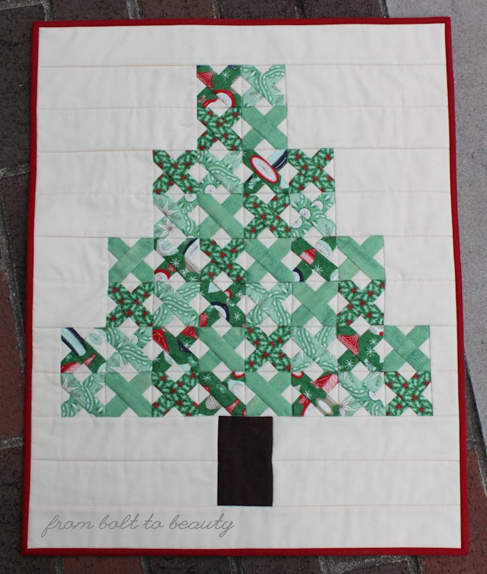 Cross stitch Christmas tree quilt