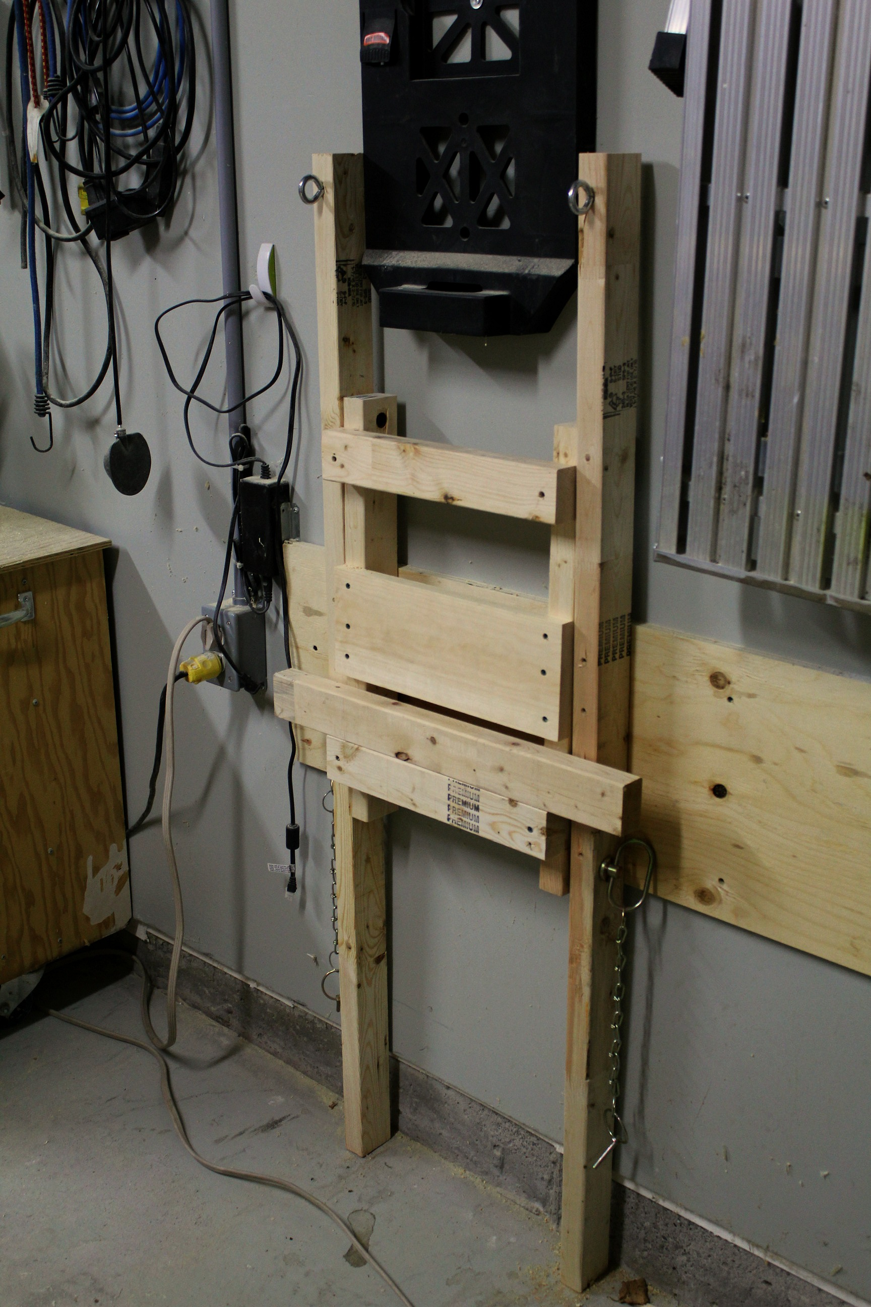 DIY fold up suspended shelf - garage