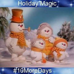 "We all know the classic 1979 movie ""Rudolph and Frosty's Christmas in July"", but do you know the names of Frosty the Snowman's wife and two children?   We'll announce the names later today! #HappyHolidays #HappyMonday #HappyCounting #10MoreDays #Frosty #C"