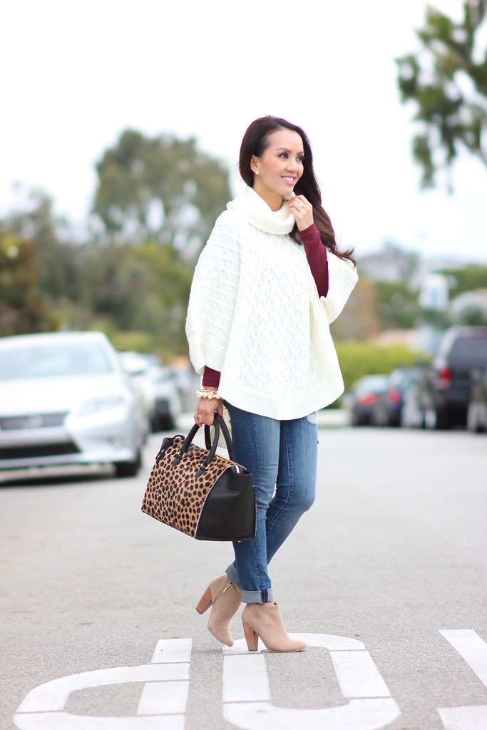 Forever 21 Cable Knit Poncho and Clare V Sandrine Satchel-7