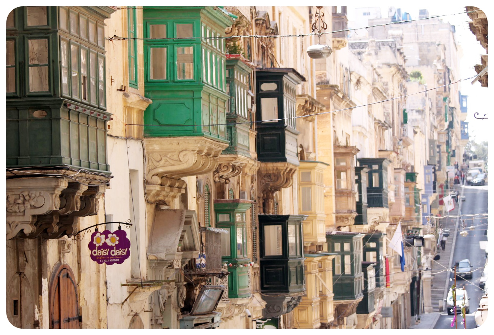 valletta street and balconies