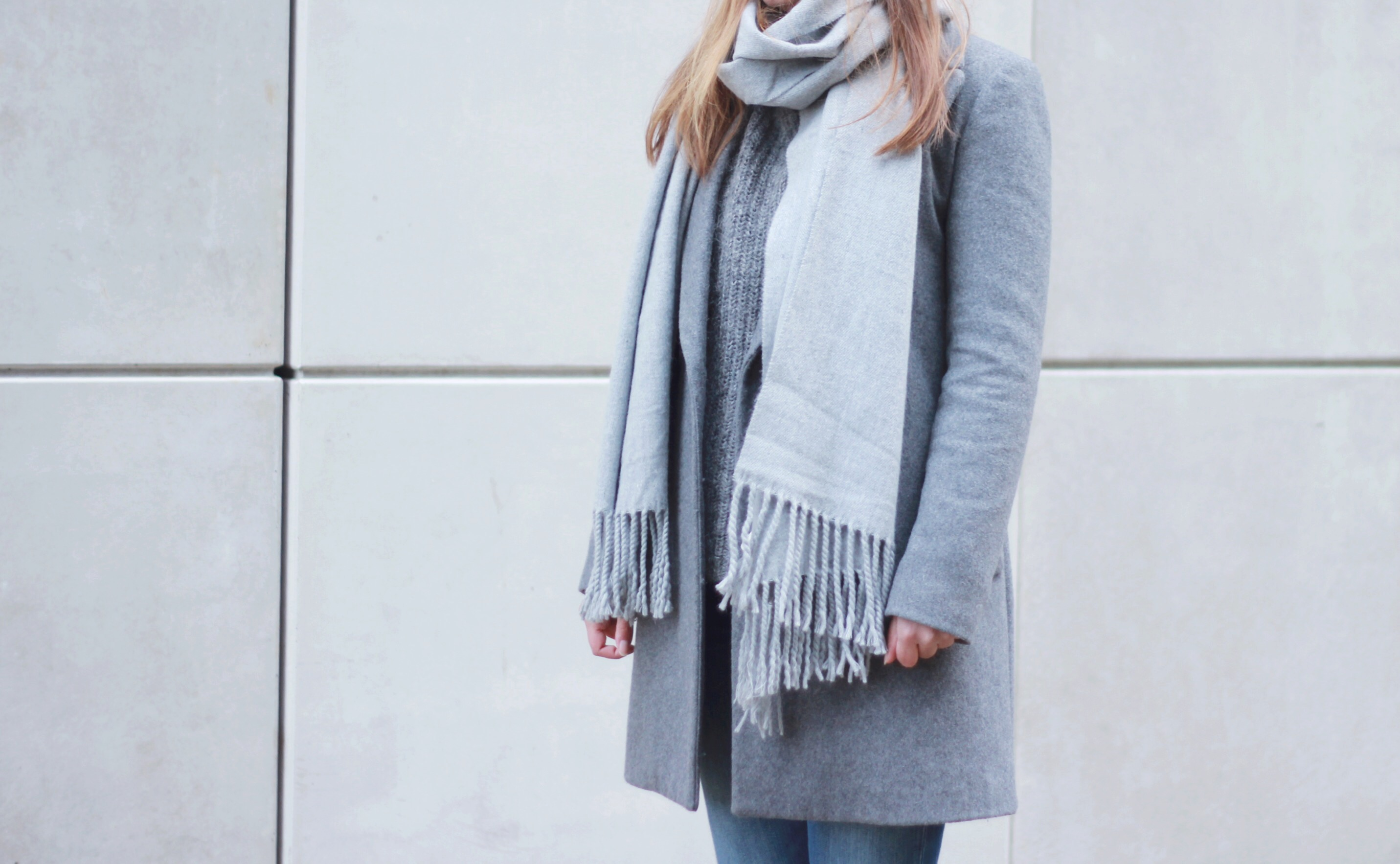All grey, Outfit, Monki Milla scarf, Zara grey coat