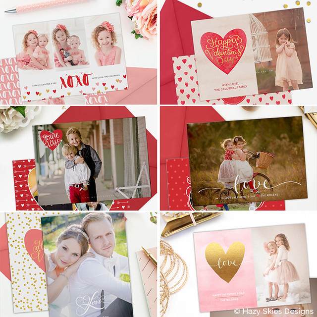 Valentine's Day Card Templates for Photographers Photoshop www.hazyskiesdesigns.com