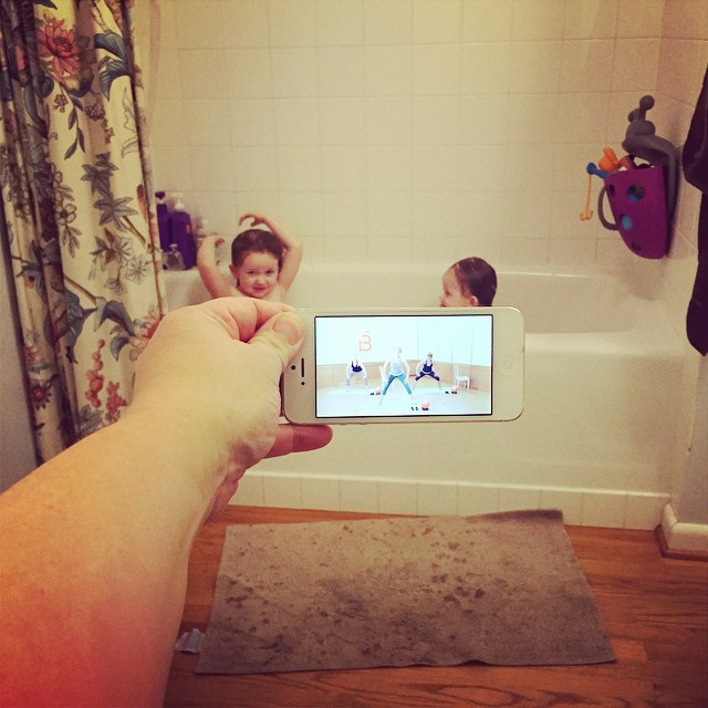 It was busy day and I was still tired from being out late last night watching Weezer, so I skipped my barre3 studio class. But I got my #barre3challenge 10 min workout in while the kids were playing in the tub. #winning