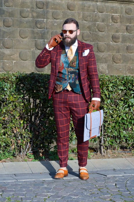 Burgundy Checked Suit