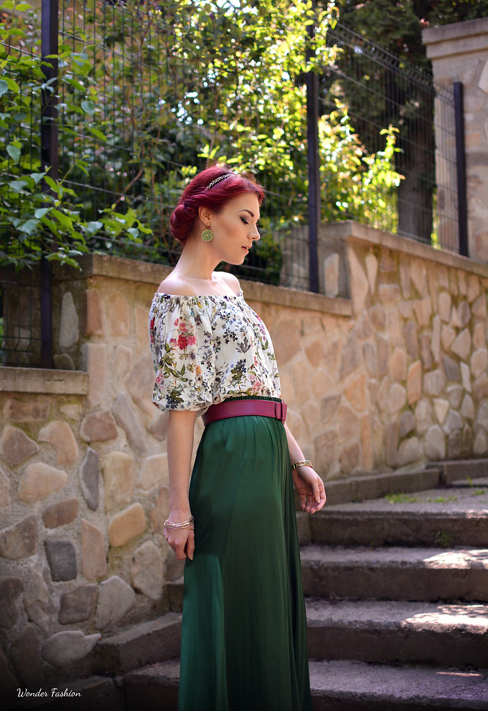 silk green skirt5