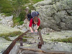 Helen climbing the Via Ferrata section of the Walkers Route of the TMB Image