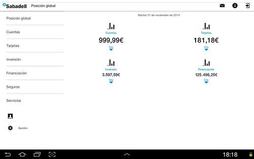 Posición global de Sabadell Móvil para tableta