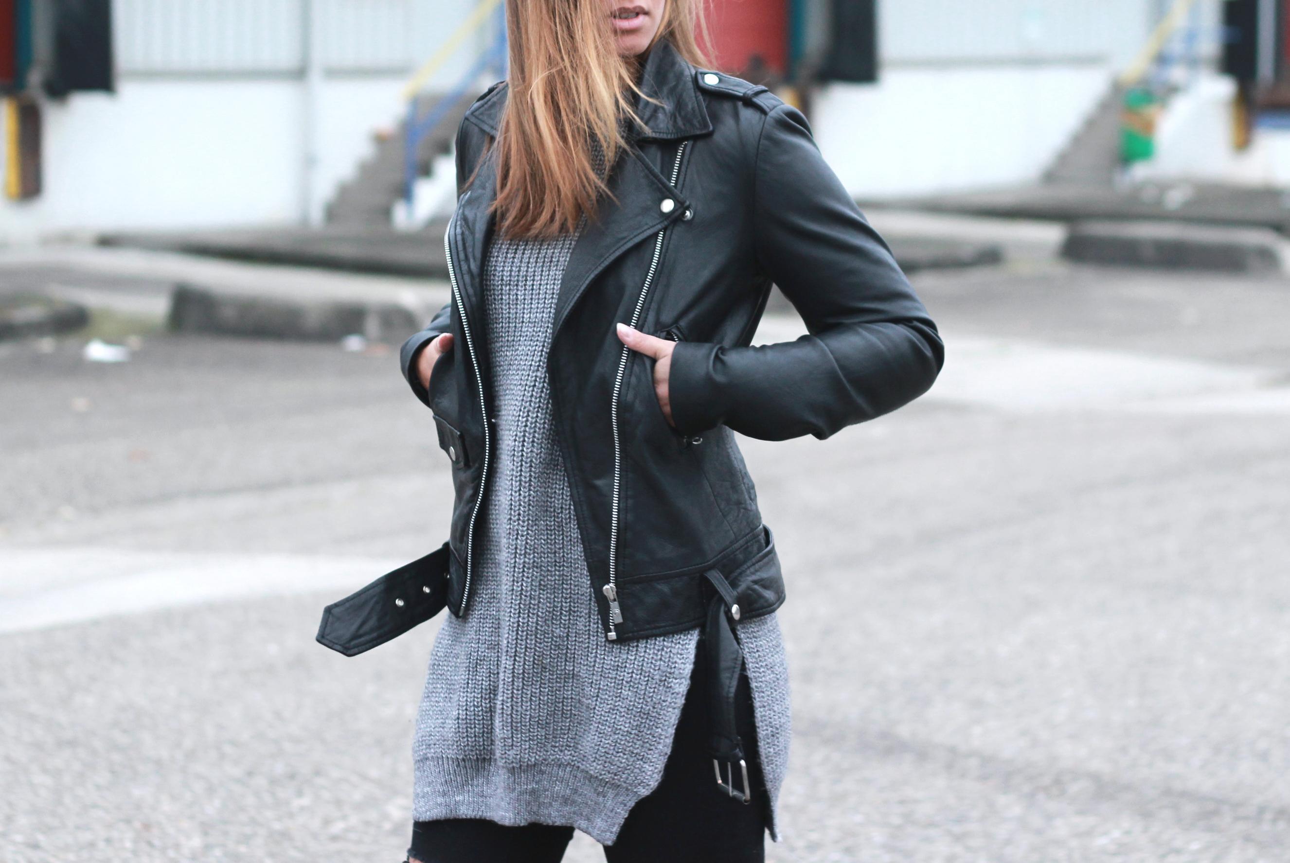 Goosecraft leather biker jacket, zara side split sweater