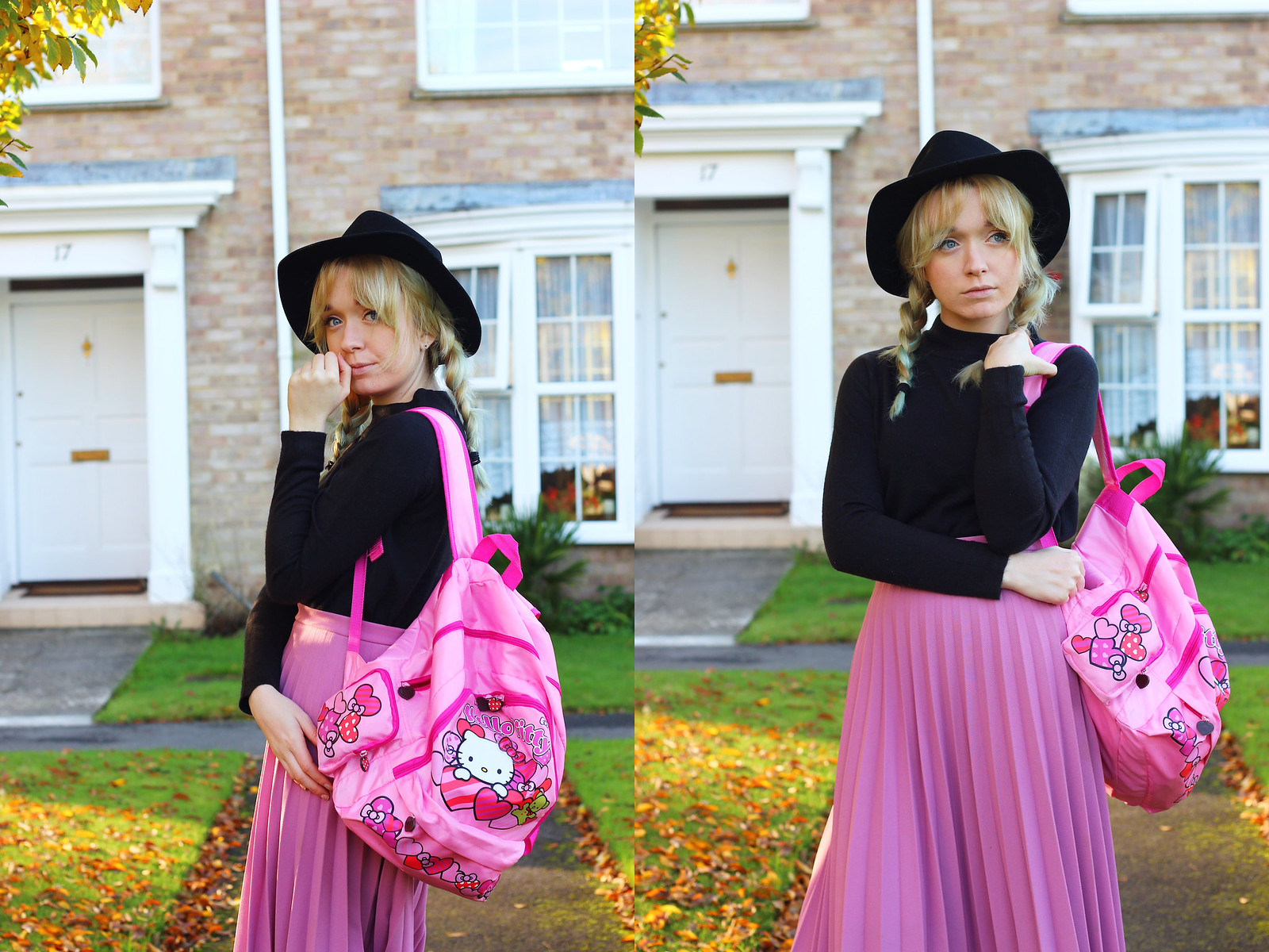 2pinkpleatedskirt, blogger_style, outfit, pleated_skirt, hello_kitty