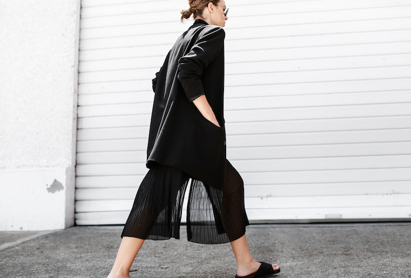 MODERN LEGACY Celine slide sandals all black street style pleated sheer split skirt Bassike tank fashion blog Australia (11 of 13)