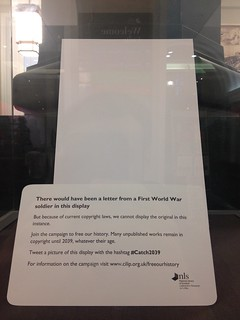 National Library of Scotland empty display cabinet & caption - October 2014