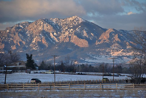 flatirons boulder co colorado winter morning dawn fence mountain shadow shardows wintery early mountainbackdrop mountainbackground mountainsbehind daybreak