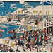 RasMarley posted a photo:Woodblock print (nishiki-e); ink and color on paper;  Triptych;  36.5 x 75.5 cm.Utagawa Shigenobu (1826-1869) was the chief pupil of the the second great master of the Japanese landscape woodblock print, Hiroshige. He took over his master's go 'Hiroshige' on the latter's death, and is now principally known by it, being more usually referred to as 'Hiroshige II'.The general view on him now is that was a relatively minor artist who was unable to generate a distinct style of his own, but nonetheless occasionally designed some very fine prints, and produced a considerable body of acceptable work. Many critics feel that the quality of his later works feel off significantly towards the end of his life, especially during the last half-decade.Detailed biographyHe was born into a family of fire-watchmen, like his master Hiroshige I. He was originally named Suzuki Chimpei, and as his artistic career began, he was given the name Shigenobu (重宣) by his master Hiroshige I. He was made part of his master's household, and married Hiroshige I's daughter Tatsu.During the period 1849-1858, he produced his earliest works, very much in the style of Hiroshige I. His work was principally nature prints, although he also produced figure prints, and prints of samurai or historical subjects. He also began signing with 'Ichiyūsai' (一幽斎, a former go of Hiroshige I) during this period.He is thought to have assisted Hiroshige I with a number of his later series, including '36 Views of Fuji' and the 'Upright Tokaido'. He is known to have contributed at least three prints in 10/1858 to Hiroshige I's last great series of landscape prints, the Hundred Views of Edo, using the signature 'Hiroshige' (during Hiroshige I's lifetime).After Hiroshige's death in 1858, in the first month of the following year he formally adopted his master's go of Ichiryūsai (一立斎) and Hiroshige (広重, although they wrote it with the characters 廣重). During this period his work continued to strongly resem