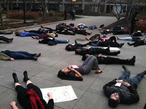 #HandsUpWalkOut demonstration at New Jersey City University