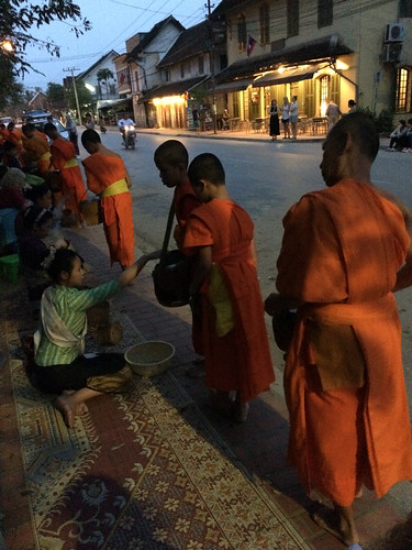 morning orange sunrise monks luangprabang robes alms