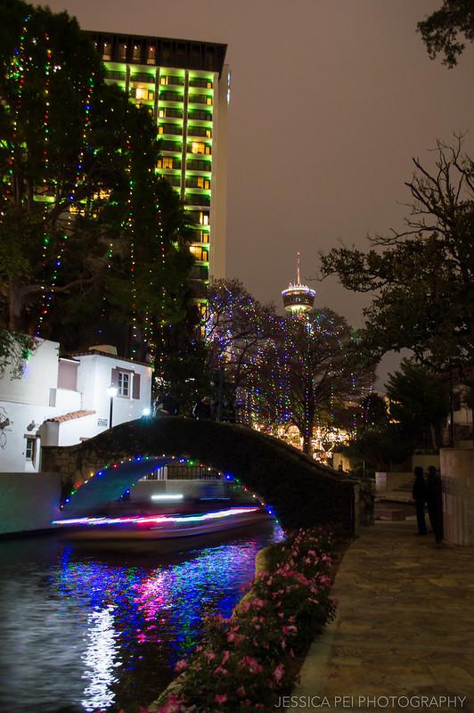 San Antonio Texas River Walk Satellite Tower at Night