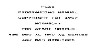 PL65 Programming Manual Title