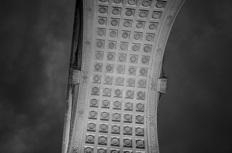 Looking up at the Washington Arch