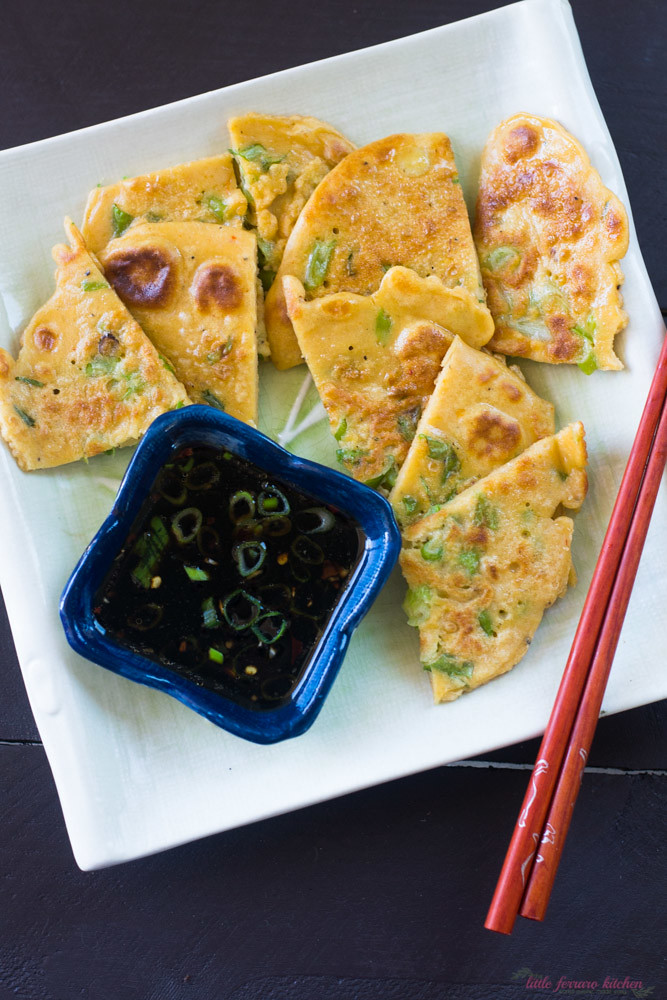 Pajeon (Korean Scallion Pancake) via LittleFerraroKitchen.com