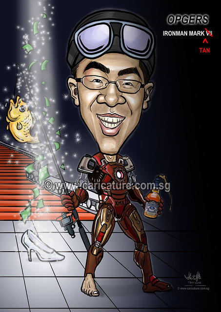 digital caricature of Ironman (watermarked)