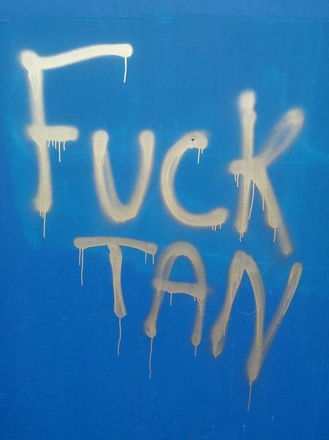 Vincent Tan graffiti at Cardiff city stadium.
