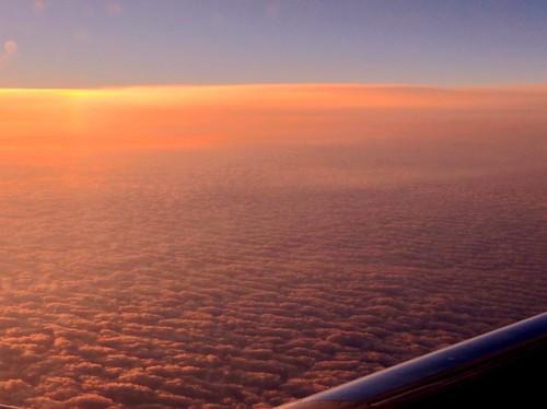 sunset sky window clouds plane airplane view flight pw