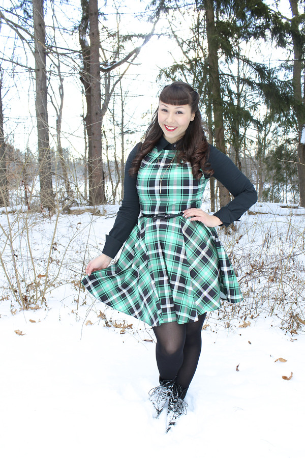 green plaid dress modcloth
