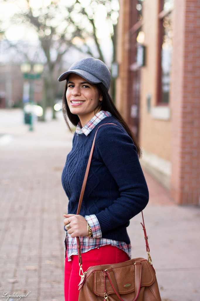 navy sweater, plaid shirt, red denim, ball cap-2.jpg