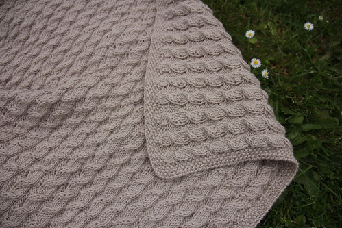 Scarlett's reversible cable baby blanket