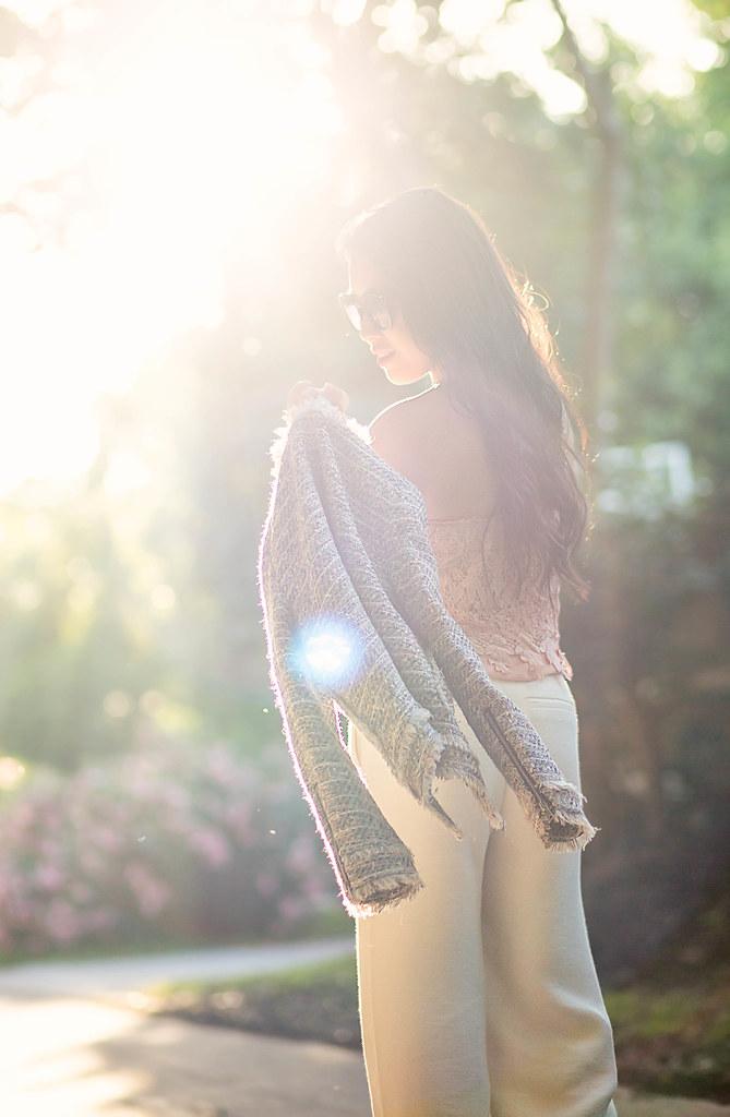 cute & little blog | petite fashion | tweed jacket, pink crochet lace strapless top, white wide leg pants, chloe drew bag, kendra scott dani earrings | spring outfit
