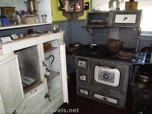 Icebox (left) and old stove at the Medicine Bow Museum in Medicine Bow, Wyoming