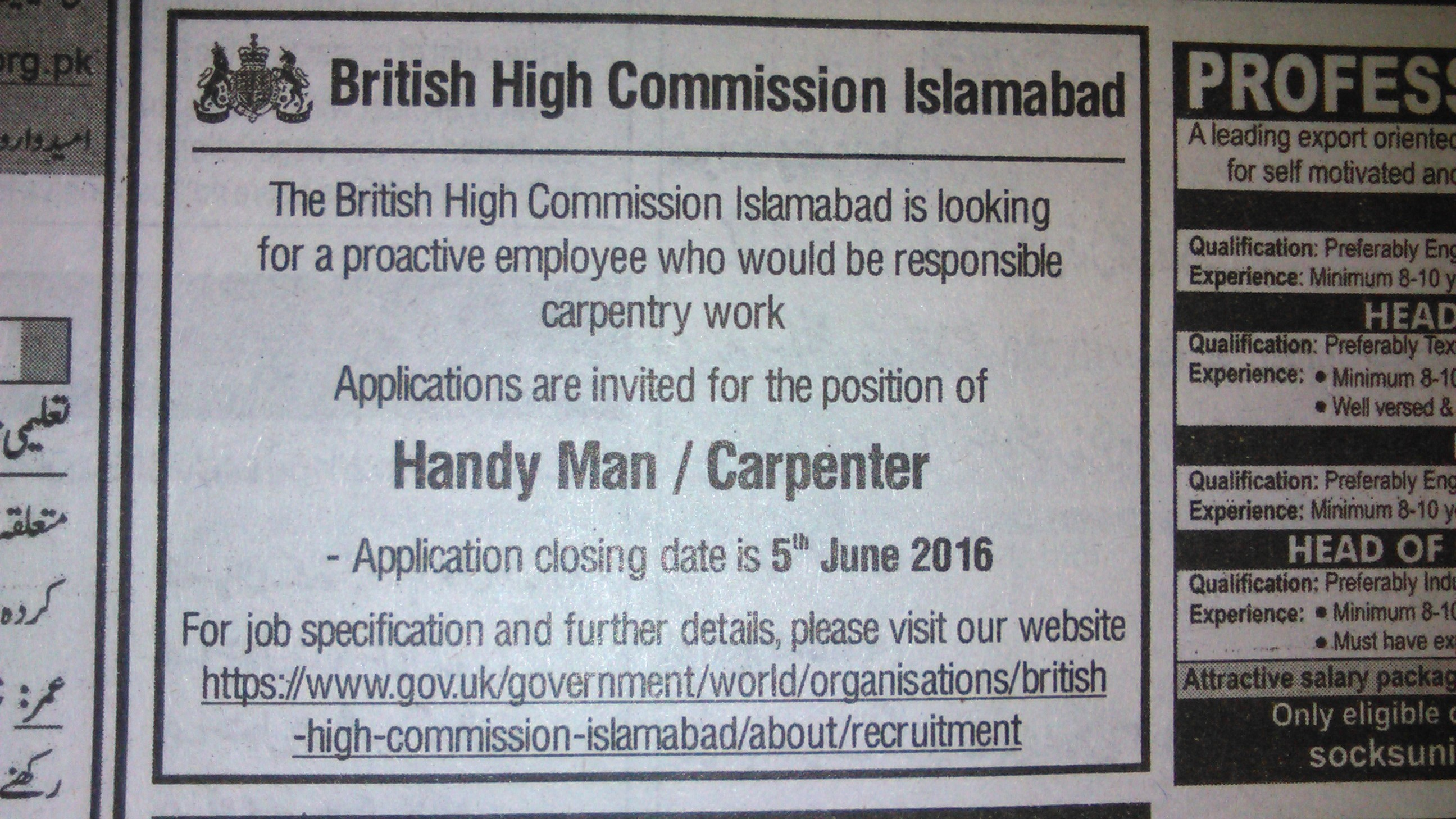 British High Commission Islamabad Handy Man Carpenter Required