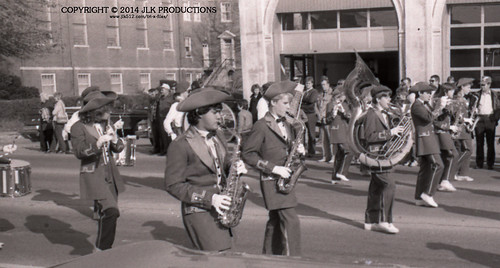 Tri-X Files 84_31.17a: MHS Band in front of the Fire Station (4/5)