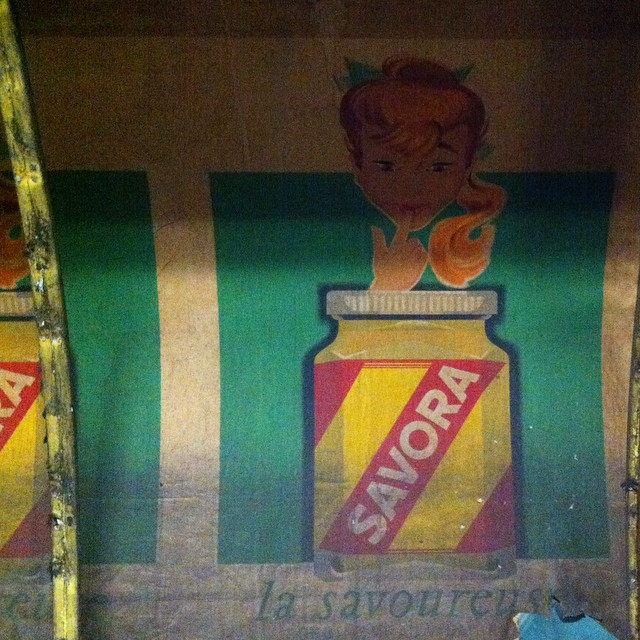 The Marcadet-Poissonier Métro station (line 12) is like a time capsule right now. Walls have been removed during renovation and there some amazing old ads, flyers and maps that have been uncovered. #paris