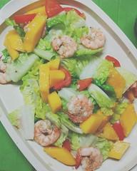 F R E S H  #greens #salad #healthy #shrimp #mango…