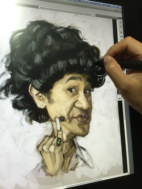 digital caricature sketch of Gurmit Singh Phua Choo Kang (work in progress)