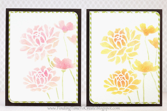 Stenciled rose cards by Kelly Wayment