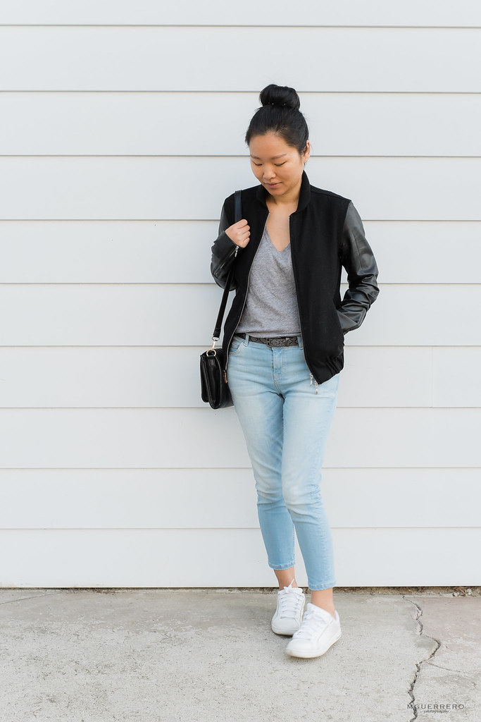 Faux Leather Jacket, Tee, and Jeans 01
