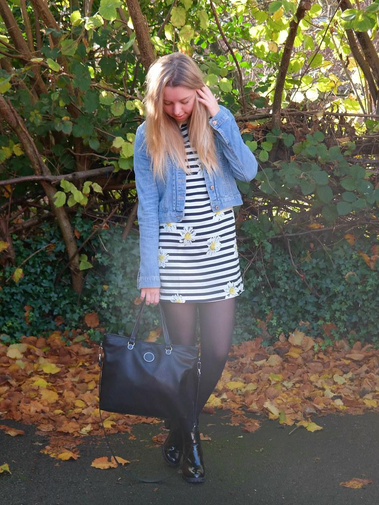 Armani bag, striped collar shift dress   Jazzpad fashion blogger